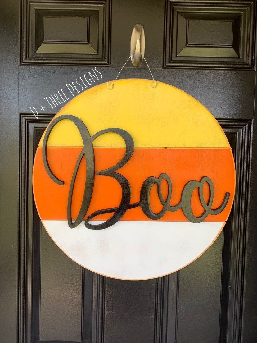 Photo of Boo Modern Farmhouse Yellow, Orange, & White Halloween Fall Wooden Door Hanger