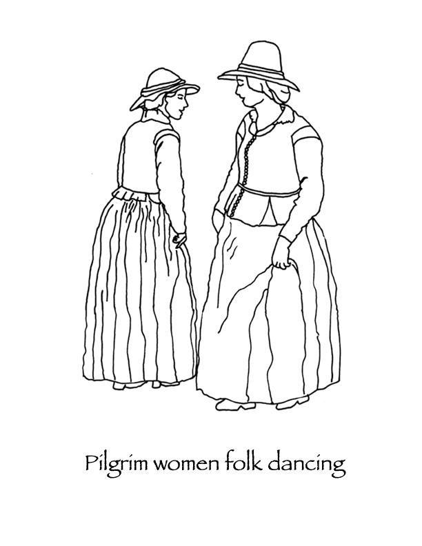 Pilgrim Women Folk Dancing Thanksgiving Coloring Page Many Hoops