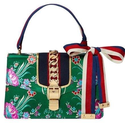 197a933492fa Gucci Sylvie Tokyo Hibiscus Floral Gold Chinese Ribbon Box Handbag Green  Jacquard Shoulder Bag - Tradesy