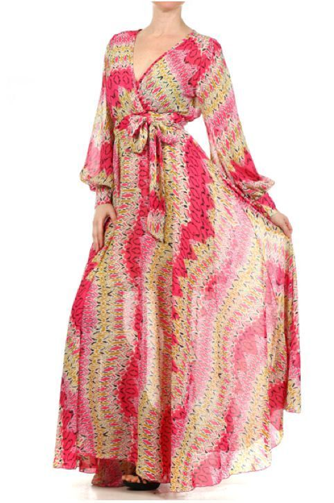 Details about PINK & BEIGE Tribal Print FULL SWEEP Chiffon MAXI ...