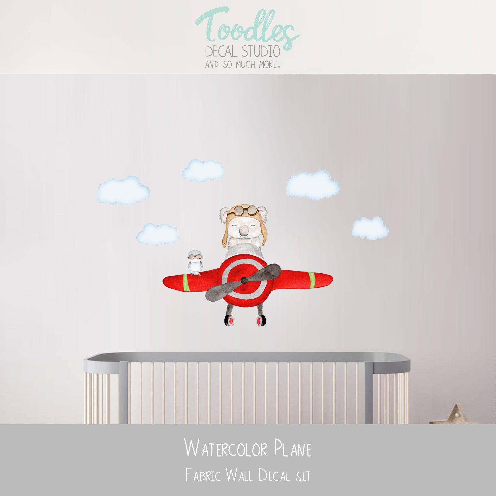 Koala Wall Decal Nursery Art Red Plane Fabric Stickers