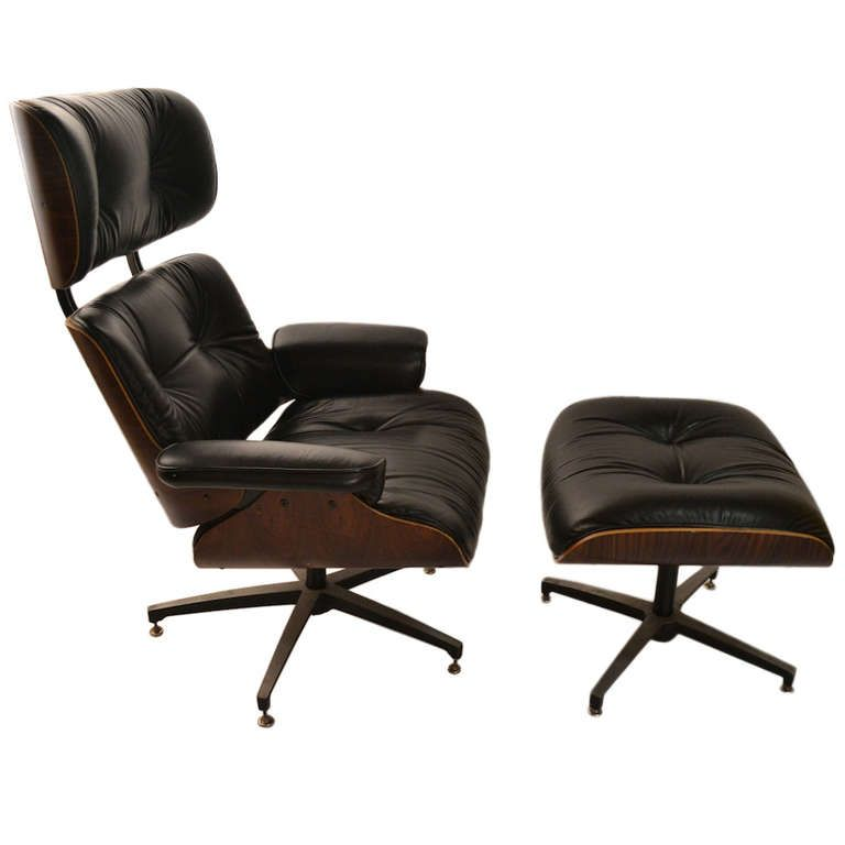 George Mulhauser For Plycraft Leather And Rosewood Lounge Chair Ottoman