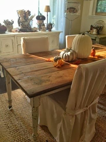 Junkaholics Unanimous: $10 Find: Antique Farm Table and Fall Tablescape