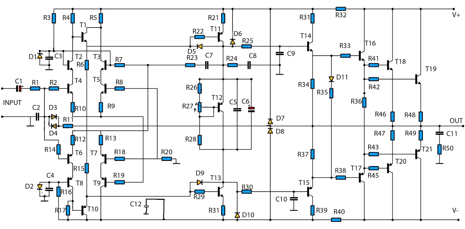Simple 500w Audio Power Amplifier Circuit Diagram With Transistor Using D Design