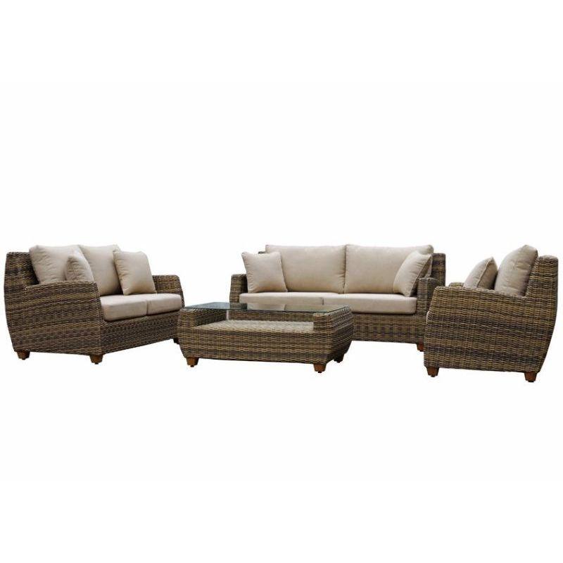 Grange Outdoor 6 Seat Wicker Lounge Set In Wheat Pretty Patios