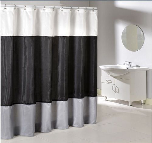 New Contemporary Design Bathroom Shower Curtain Black Gray White Fabric Bath Set Contemporarymodern With Images Black Curtains Bathroom Renovation Cost Curtains