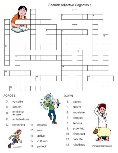 image relating to Printable Spanish Crossword Puzzle titled Adjetivos - Classes - Tes Train