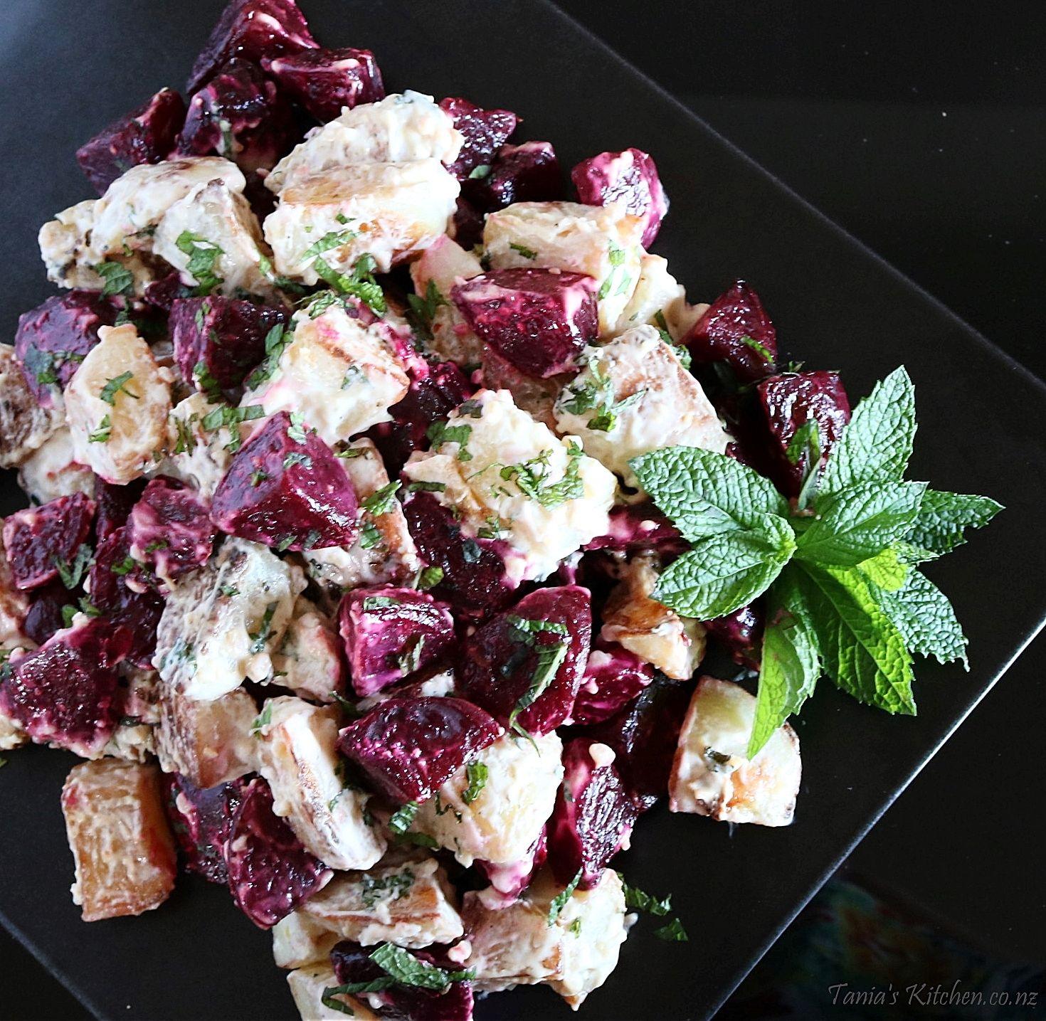 Roast Beetroot Potato Horseradish Salad Tania S Kitchen Recipe Potato Salad Potato Salad Recipe Easy Beetroot