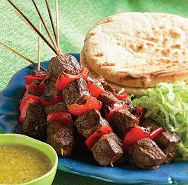 Grilled Steak Kebab Pitas with Ginger & Garlic Dressing