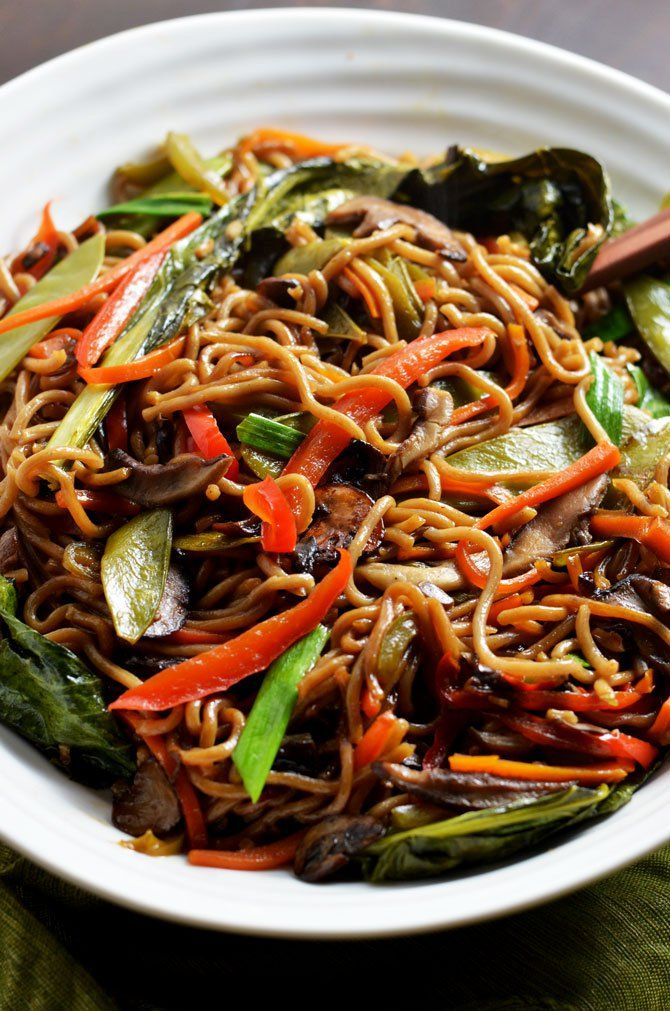 Loaded Vegetable Lo Mein. This healthier version of the takeout favorite is chock full of vitamins and dietary fiber, and is absolutely delicious! Plus, it takes less than 30 minutes to make! | hostthetoast.com