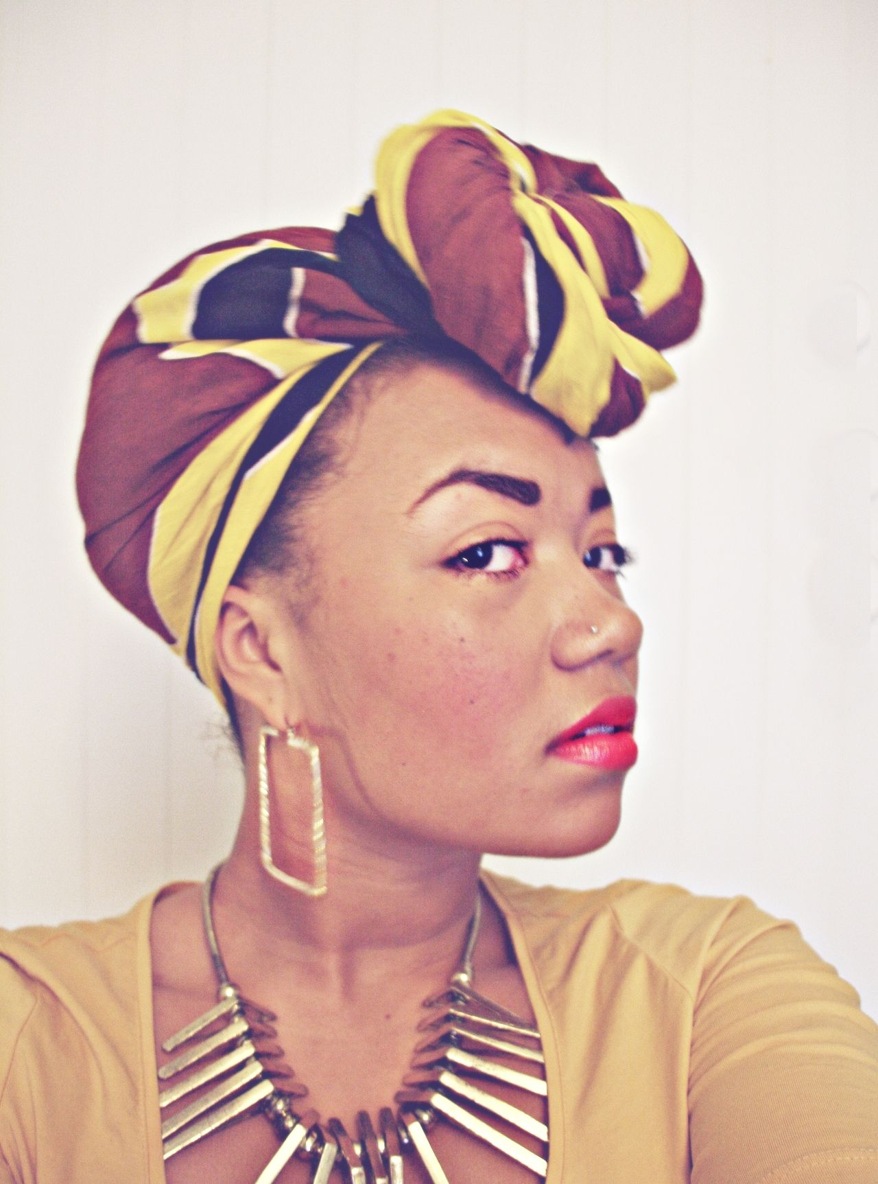 Accessories head wrap earrings nose piercing and necklace All
