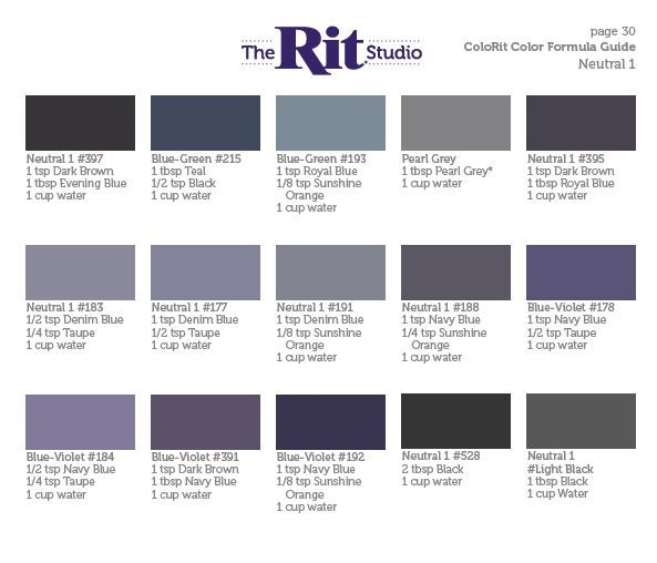 Neutral 1 Rit Dye Colors Chart How To Dye Fabric Diy Dye