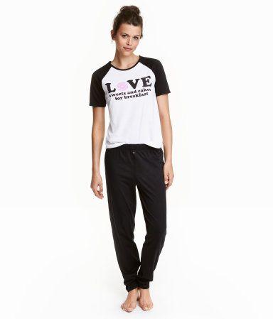 Pyjamatop en -broek | Zwart/wit | Ladies | H&M NL