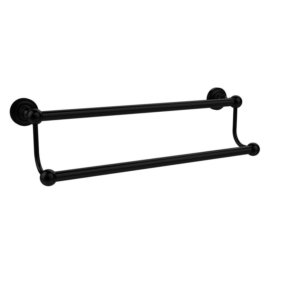 Allied Brass Dottingham Collection 30 in. Double Towel Bar in Matte Black