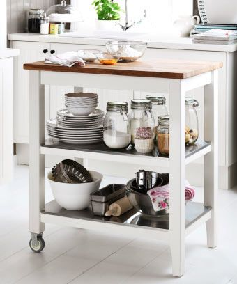 The STENSTORP kitchen cart is an extra countertop as well as storage ...