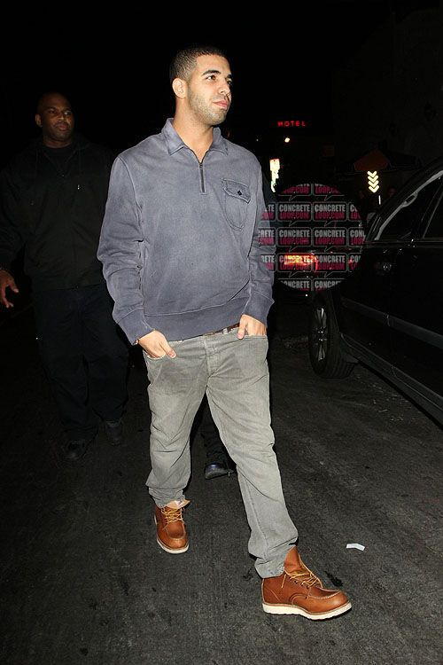 Drake - leather high tops, grey jeans, sweater | Rapper Fashion ...