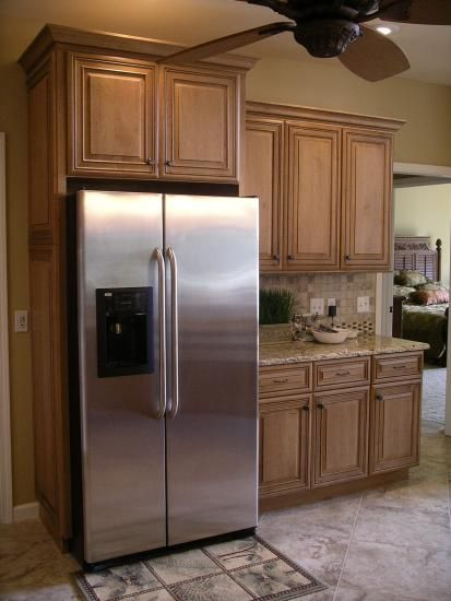 Image Detail For Standard Depth Refrigerator Is Built In To The Surrounding Cabinetry Budget Kitchen Remodel Home Kitchens Built In Refrigerators