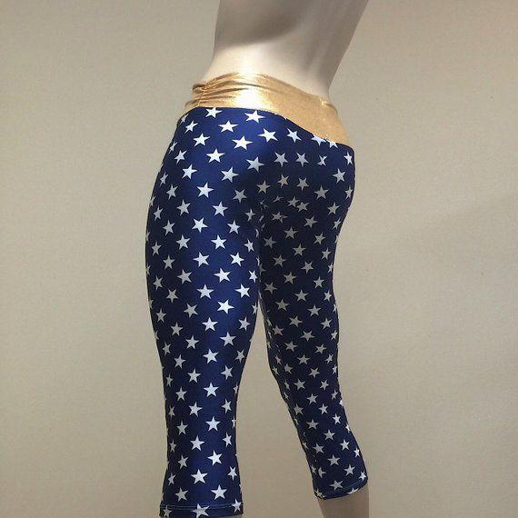 146e6ecfac1d2 Super Hero Hot Yoga Fitness Capri Pants Navy and Gold Stars Print  SXYfitness Brand Item #1279 Sizes
