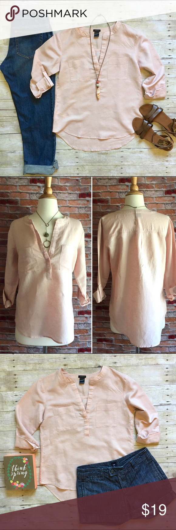 """Ann Taylor blush split neck lined blend Tunic Crisp linen blend Tunic with split neck and rolled sleeves with button tab. Bust pockets. Pair with denim (as shown, all pairs in pics also available in my closet, buy the look and save!) or khaki shorts for a classic chic look! In like new condition. 60/40 linen, cotton. 26""""L in fron, 29""""L in back. Size Small. Ann Taylor Tops Tunics"""