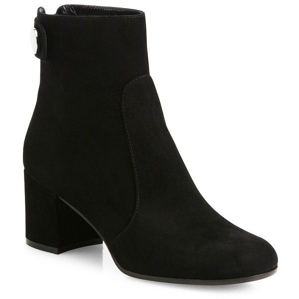 Gianvito Rossi Lindon Suede Block-Heel Booties ($1,180) ❤ liked on Polyvore featuring shoes, boots, ankle booties, apparel & accessories, back zipper boots, block heel booties, gianvito rossi boots, block heel ankle boots and short boots