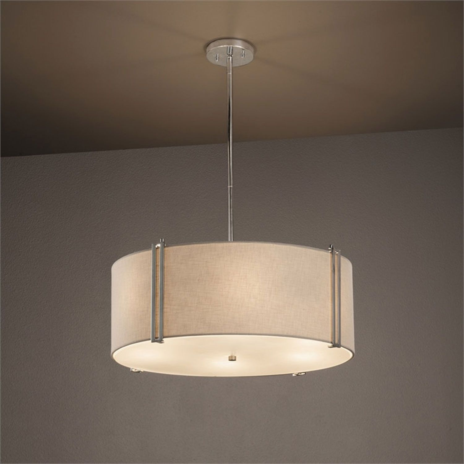 Justice Design Group Textile Reveal Brushed Nickel 24 Inch Six Light Drum Pendant With White Shade Fab 9512 Whte Nckl Bellacor Drum Chandelier Drum Pendant Lighting Drum Pendant