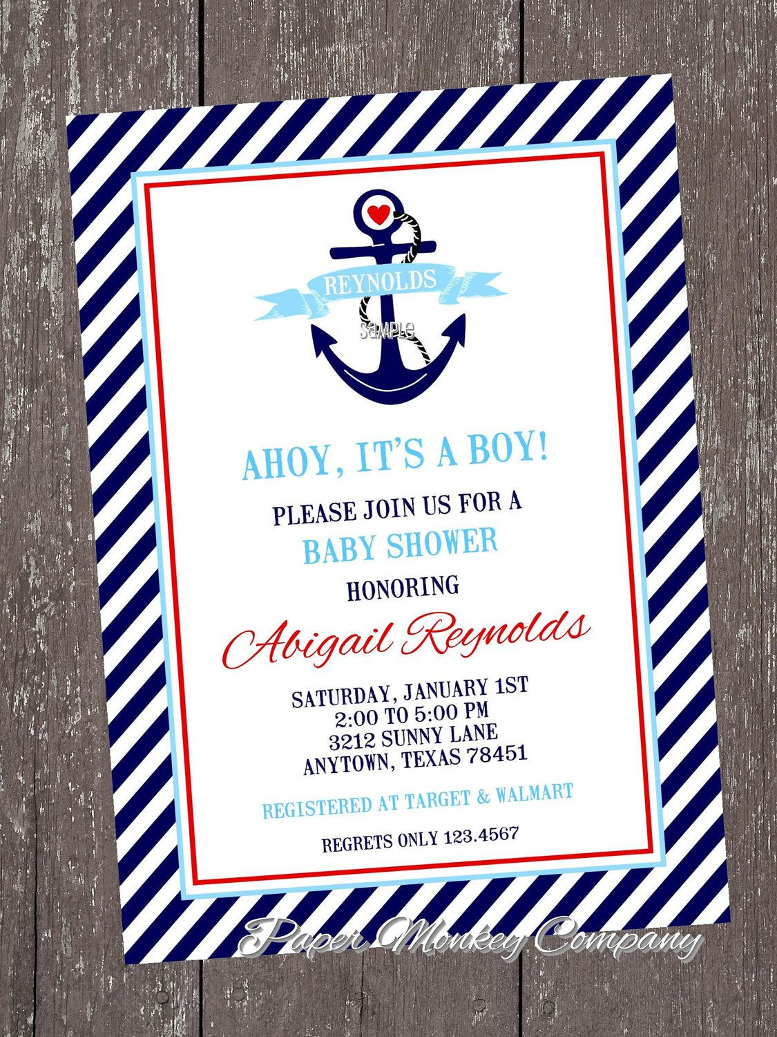 Nautical Anchor Baby Shower Invitations with FREE Matching Return ...