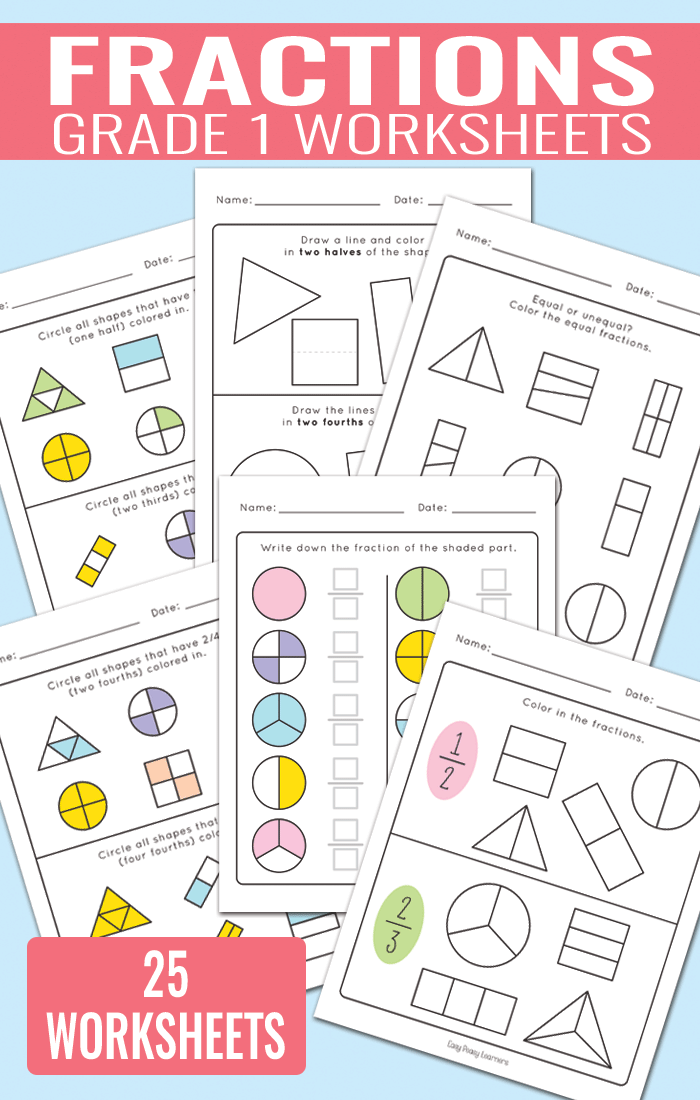 Fractions Worksheets for Grade 1 | Activities for Kids | Pinterest ...