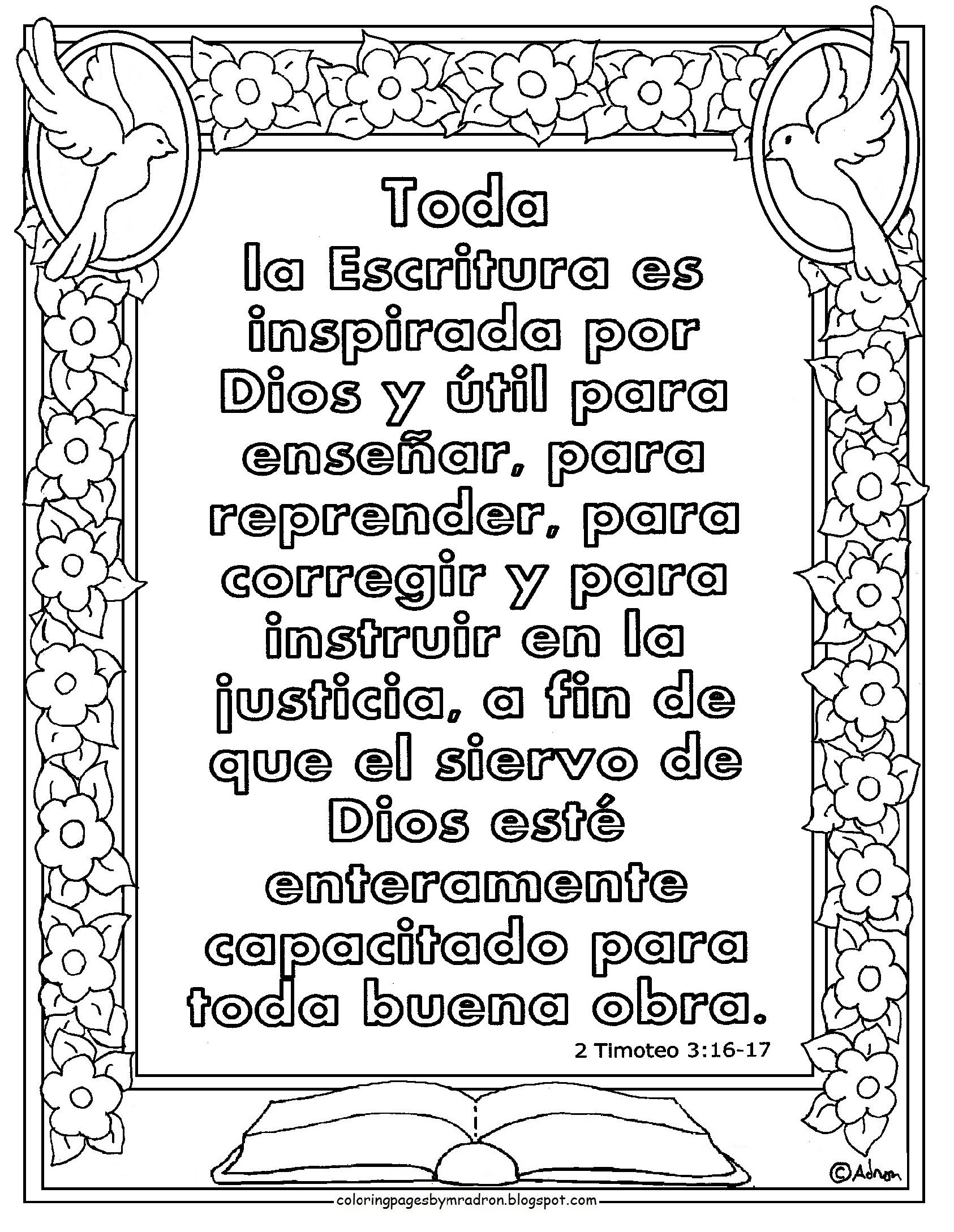 free bible coloring pages in spanish | Spanish print and color page for the Bible Verse in 2 ...