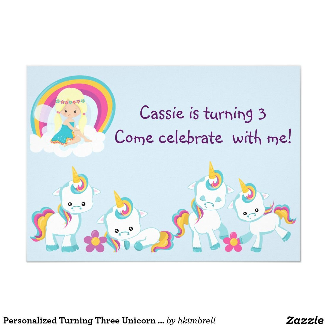 Personalized Turning Three Unicorn Birthday Card Cards And