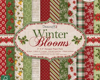 Dovecraft Christmas Winter Blooms 8x8 Paper Pack Christmas