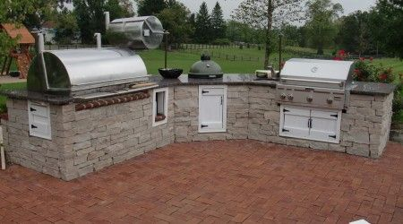 Kitchen With Smoker Green Egg Sink And Grill Diy Outdoor Kitchen Outdoor Kitchen Outdoor Bbq