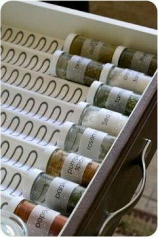 Rangement astucieux de pots à épices dans son un tiroir