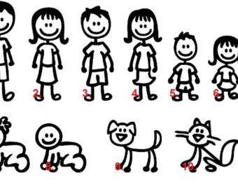Set Of Stick Figure Family Car Decal Stick Figure Decal Family - Window stickers for cars family