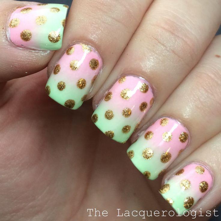 The Lacquerologist: Pastel Gradient + Gold Dots