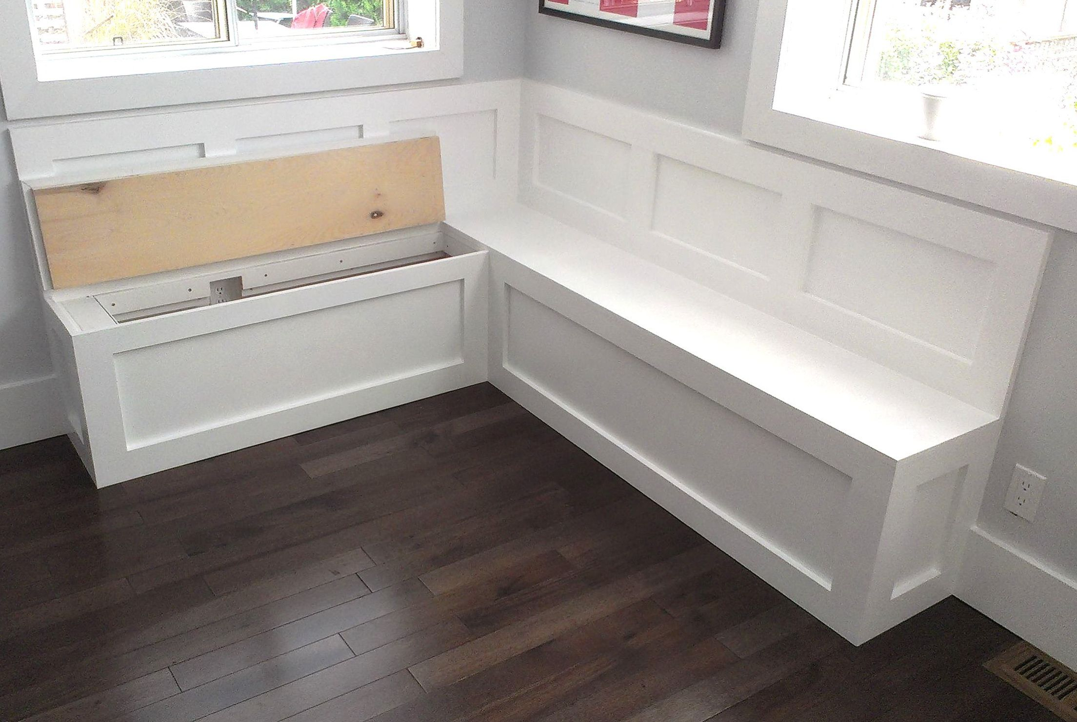 Storage banquette seating bench for kitchen