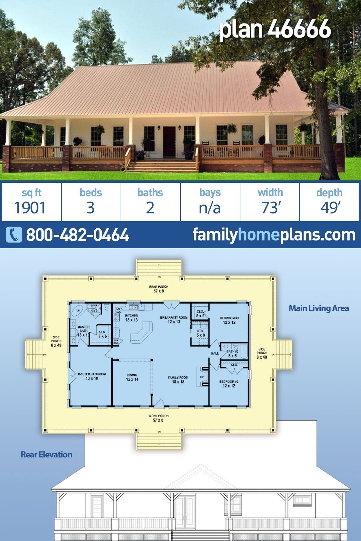 Low Country House Plan 46666 Has A Full Wrap Around Covered Porch And An Open Floor Plan 1 In 2020 Ranch House Plans Country Style House Plans House Plans Farmhouse