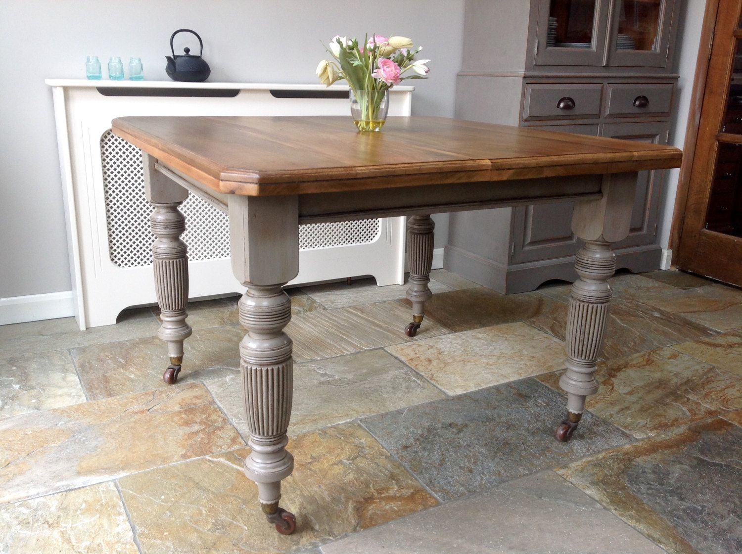 Antique Victorian Pine Dining Table On Castors Painted Annie Sloan Grey By Clynecofurniture On Etsy Pine Dining Table Dining Table Victorian Dining Tables
