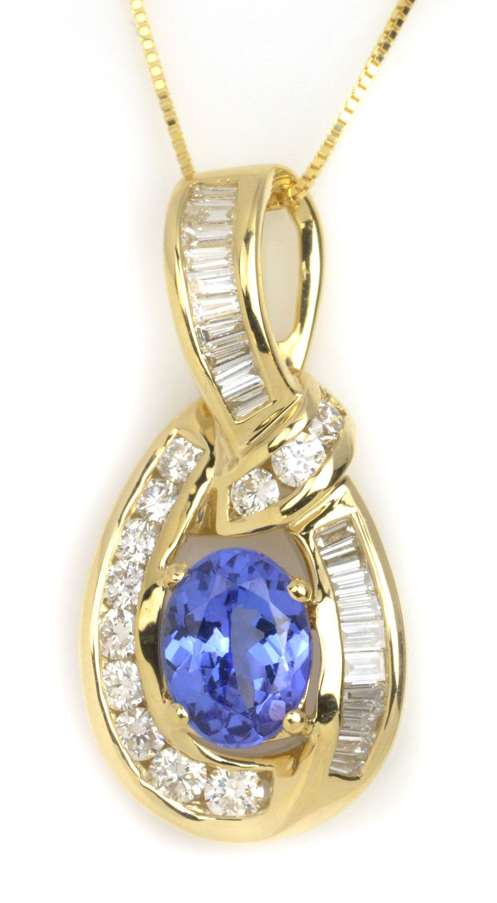 1.22 ct Tanzanite Oval & 0.75 ctw Diamond Round & Baguette 14K Yellow Gold Pendant Length 18 - Gem Shopping Network