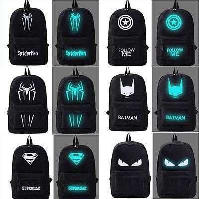 Cool shoulder backpack Black back pack Night Luminous school bag