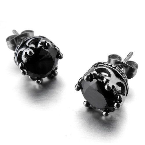 Justeel Jewelry Stainless Steel Stud Earrings Men Uni Silver Crown Black Onyx 7 99 Bester
