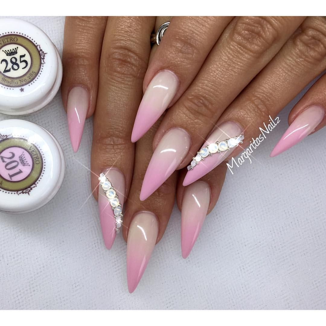 Pink Ombre Stiletto Nails Summer 2016 Paznokcie