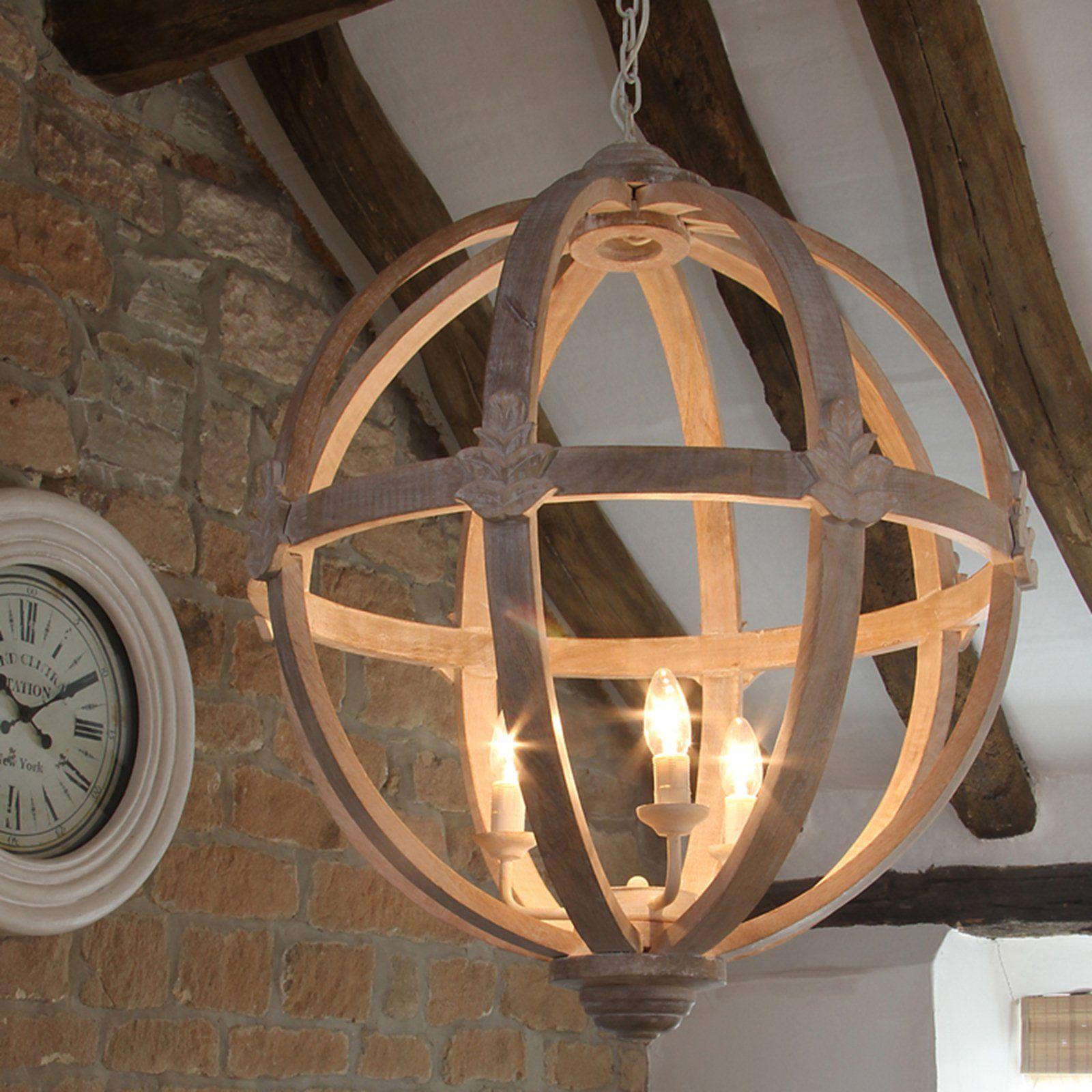 Hicks Dene Round Wood Pendant Light