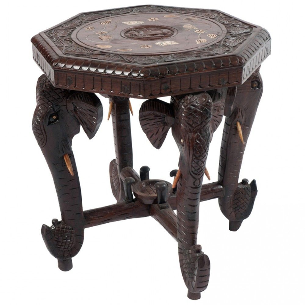anglo-indian rosewood side table with carved elephant head legs