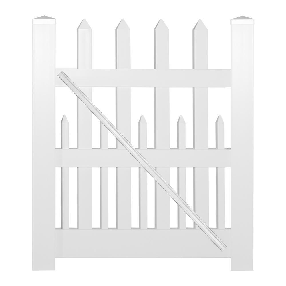Weatherables Ashville 4 Ft W X 5 Ft H White Vinyl Picket Fence Gate Kit Green Vinyl Picket Fence Picket Fence Gate Fence Gate