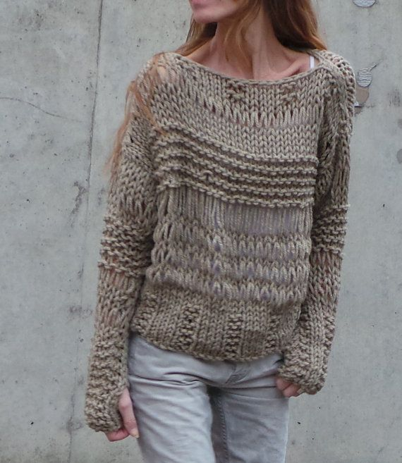 Beige Sweater Chunky Over Sized Loose Knit Grunge Sweater