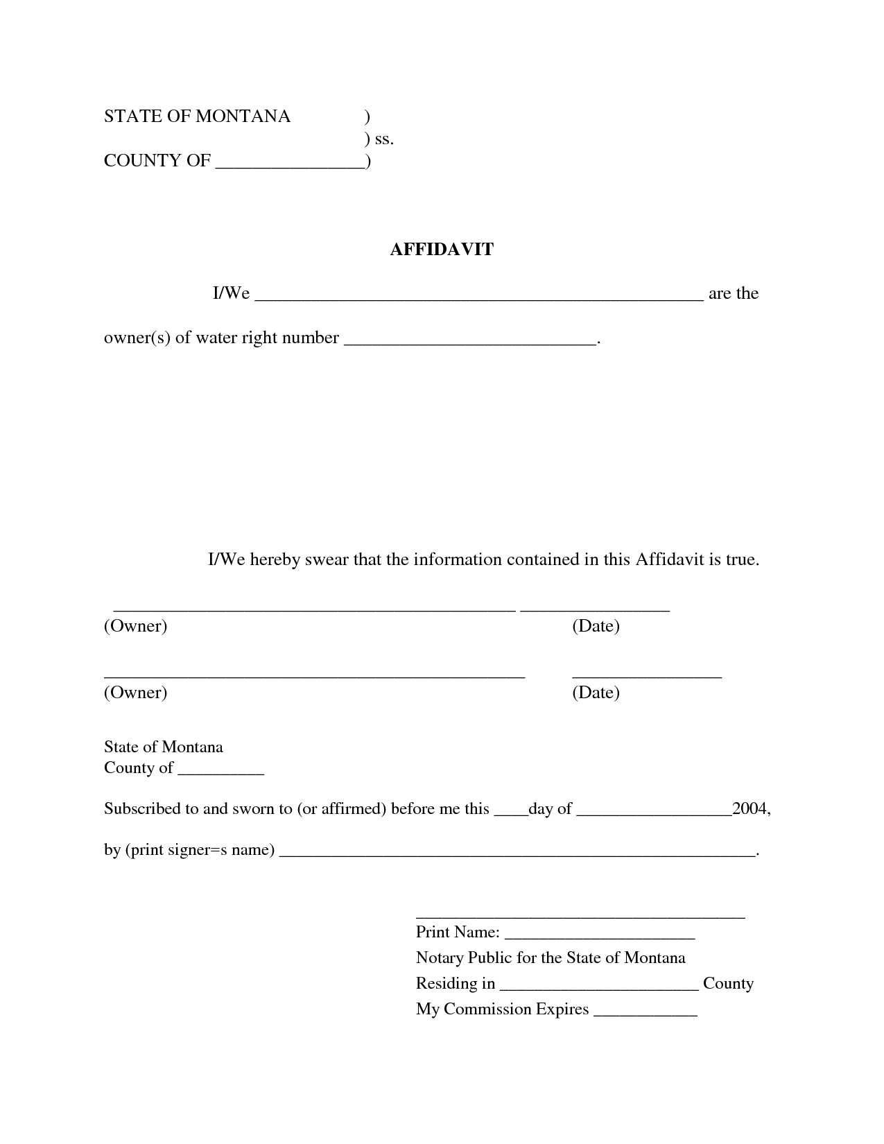 Free Blank Affidavit Form | Blank Sworn Affidavit Forms  General Affidavit Sample