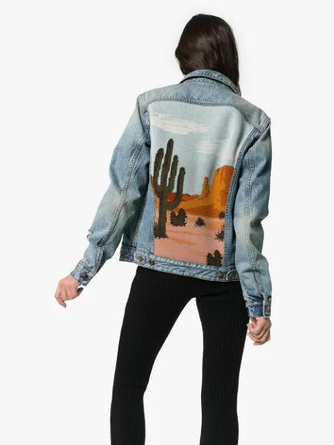 Alanui Desert-Landscape-Back Denim Jacket In Blue | ModeSens