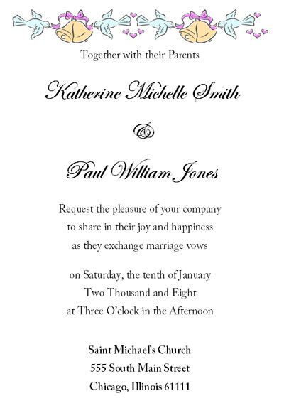 Wedding Invitations Examples Wording And Fonts  Wedding Events