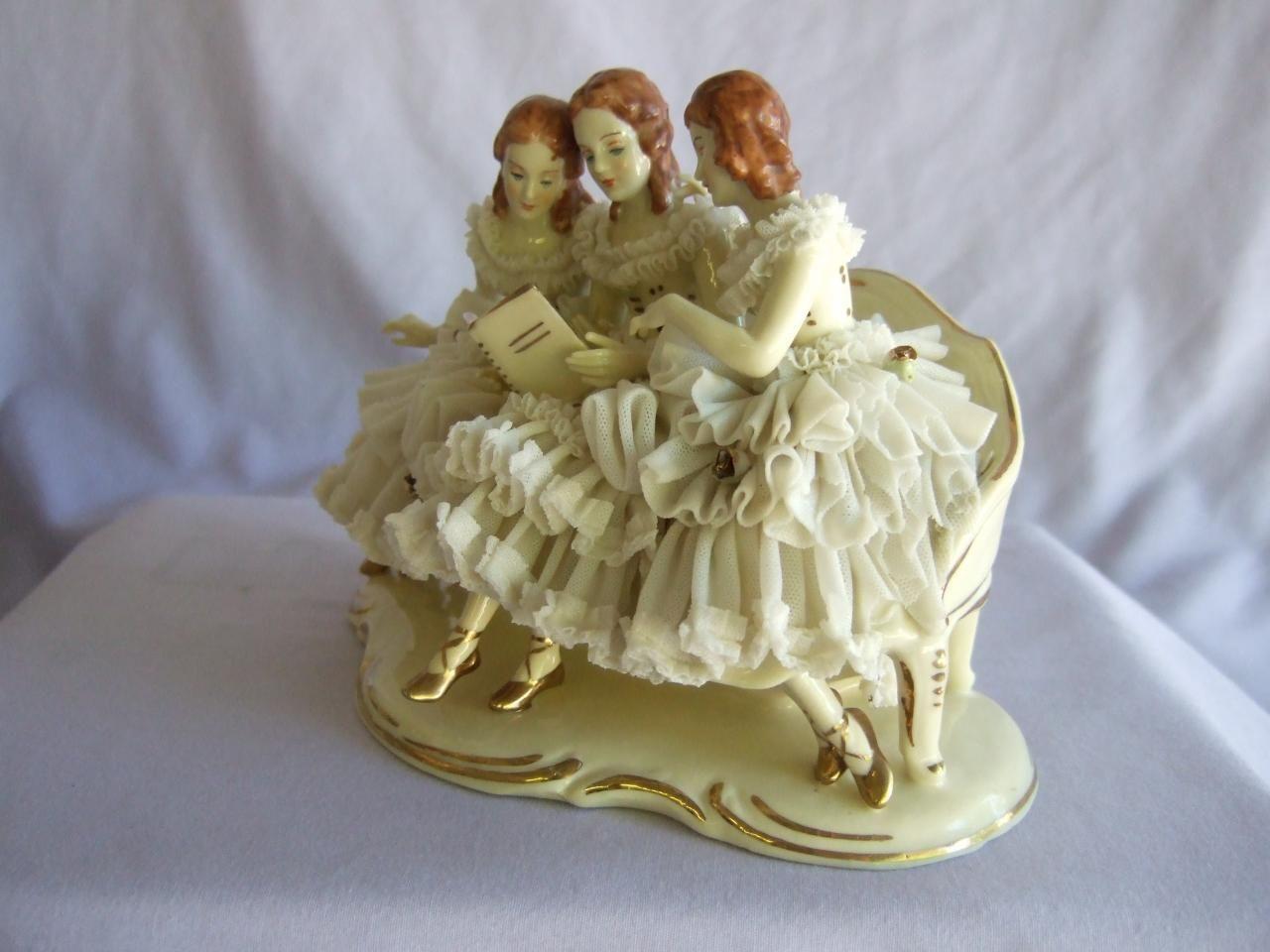 Vintage Dresden Lace Figurine Wilhelm Rittirsch 1950 1974