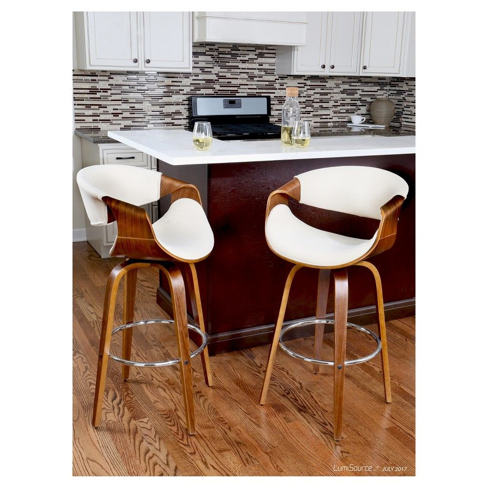 Curv-i 24 Mid - Century Modern Counter Stool - Walnut Wood ...